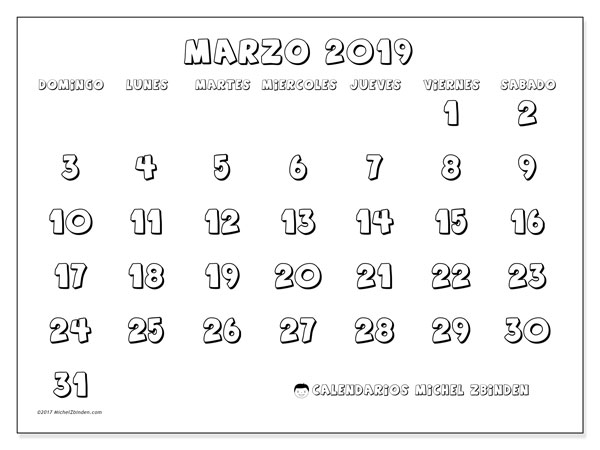 Calendario marzo 2019 (56DS)