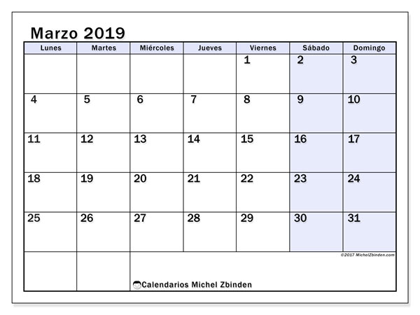 Calendario marzo 2019, 57LD. Almanaque para imprimir gratis.