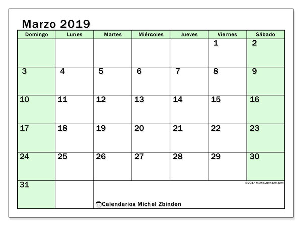 Calendario marzo 2019 (60DS)