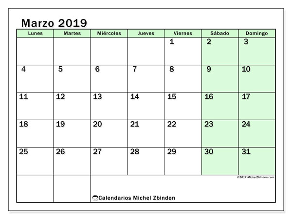 Calendario marzo 2019, 60LD. Calendario imprimible gratis.