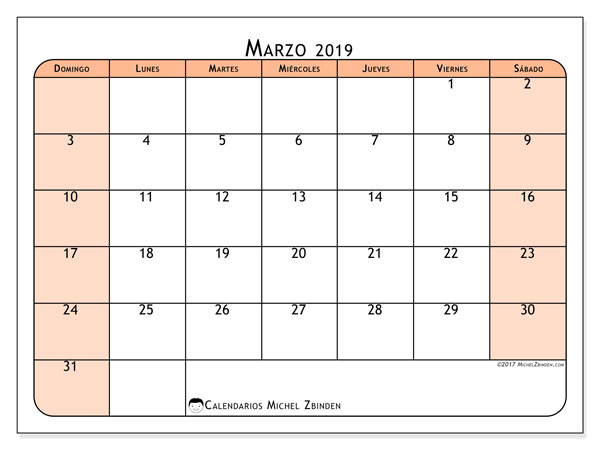Calendario marzo 2019 (61DS)