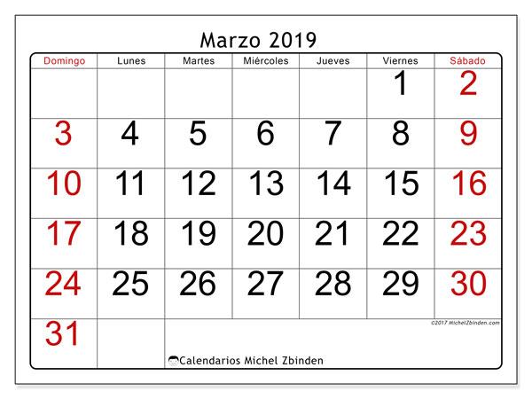 Calendario  marzo de 2019, 62LD