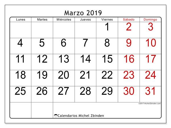 Calendario marzo 2019, 62LD. Calendario para imprimir gratis.