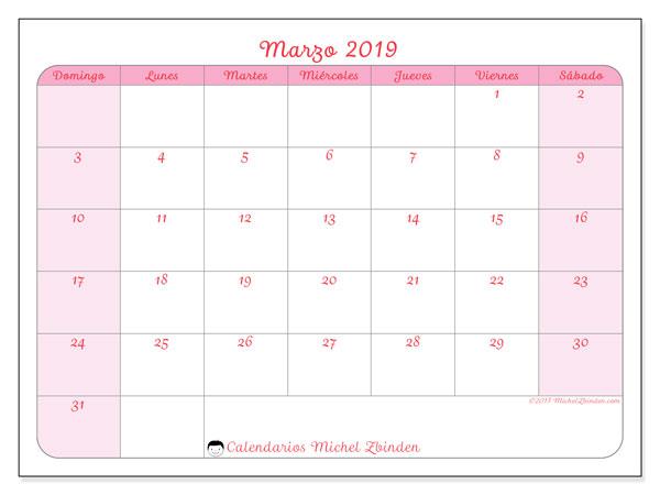 Calendario marzo 2019, 63DS. Calendario gratuito para imprimir.