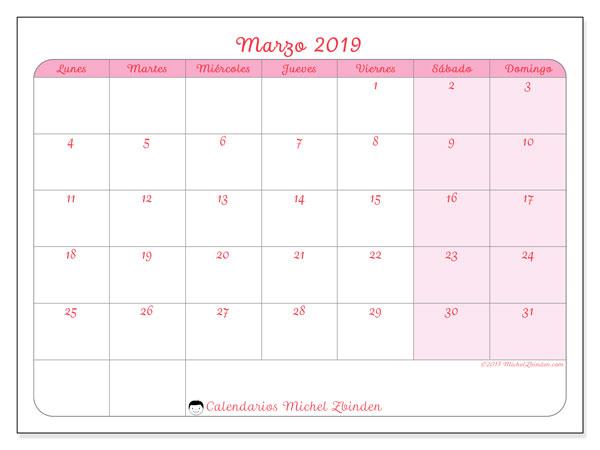 Calendario marzo 2019, 63LD. Calendario mensual para imprimir gratis.