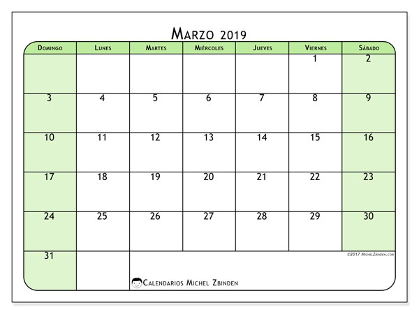 Calendario marzo 2019 (65DS)