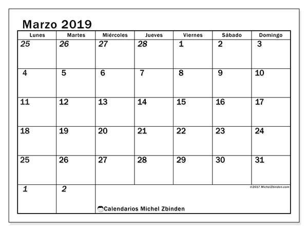 Calendario marzo 2019, 66LD. Planificación para imprimir gratis.