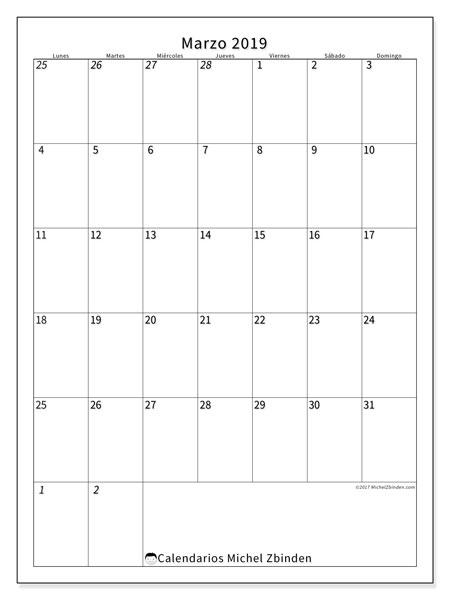 Calendario marzo 2019, 68LD. Calendario para imprimir gratis.