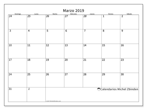 Calendario marzo 2019 (70DS)