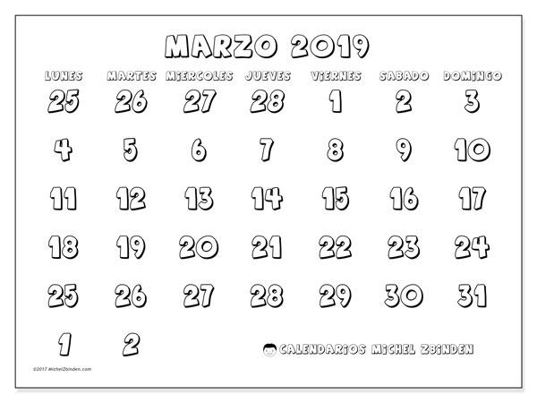 Calendario marzo 2019 (71LD)