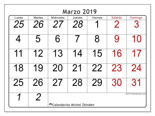 Calendario marzo 2019, 72LD. Calendario para imprimir gratis.