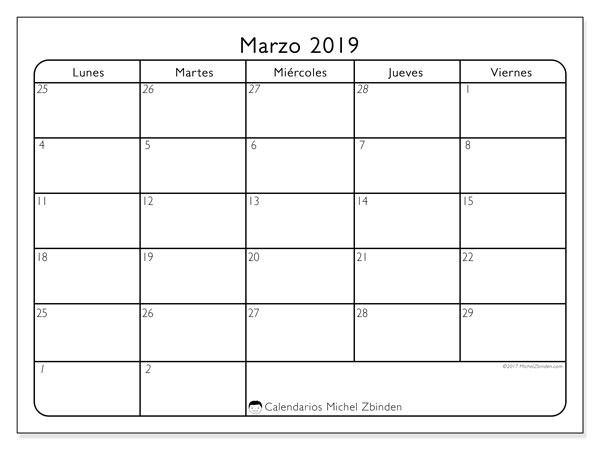Calendario marzo 2019 (74LV). Calendario mensual para imprimir gratis.