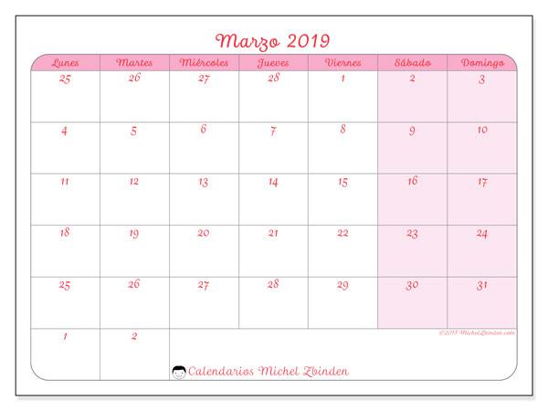 Calendario marzo 2019, 76LD. Planificación para imprimir gratis.