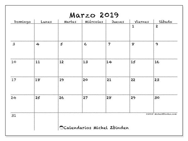 Calendario Mensual 2019 Para Imprimir.Calendario Marzo 2019 77ds Michel Zbinden Es