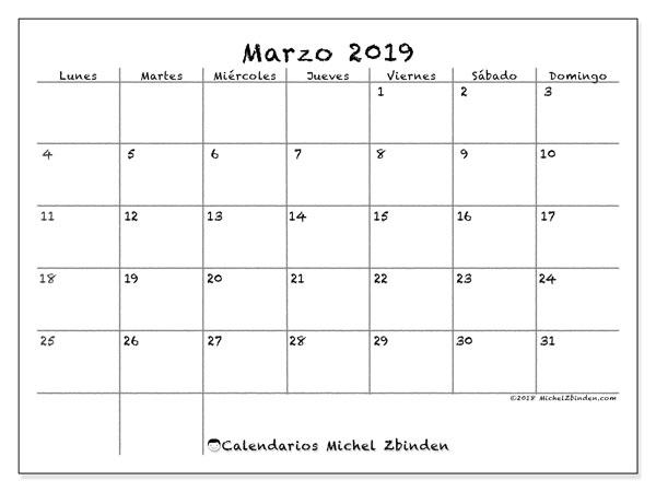 Calendario marzo 2019, 77LD. Planificación para imprimir gratis.