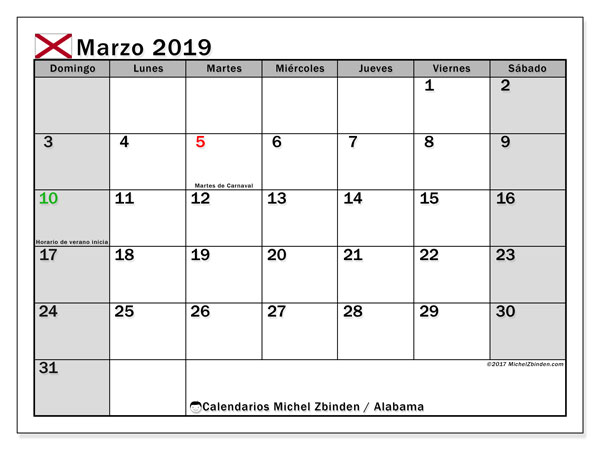 Calendario marzo de 2019 - Alabama. Calendario para imprimir: fiestas oficiales.