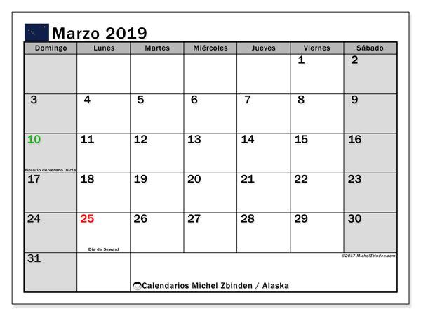 Calendario marzo de 2019 - Alaska. Calendario para imprimir: fiestas oficiales y días festivos.