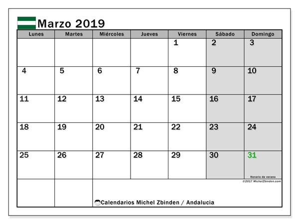 Calendario marzo de 2019 - Andalucia. Calendario para imprimir: fiestas oficiales y días feriados.