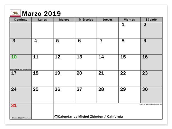 Calendario marzo 2019, con los días feriados en California. Planificación para imprimir gratis.