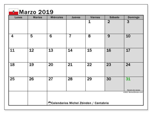 Calendario marzo 2019, con los días festivos de Cantabria. Almanaque para imprimir gratis.