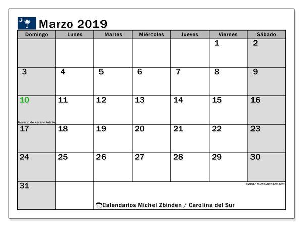 Calendario marzo 2019, con los días feriados en Carolina del Sur. Almanaque para imprimir gratis.