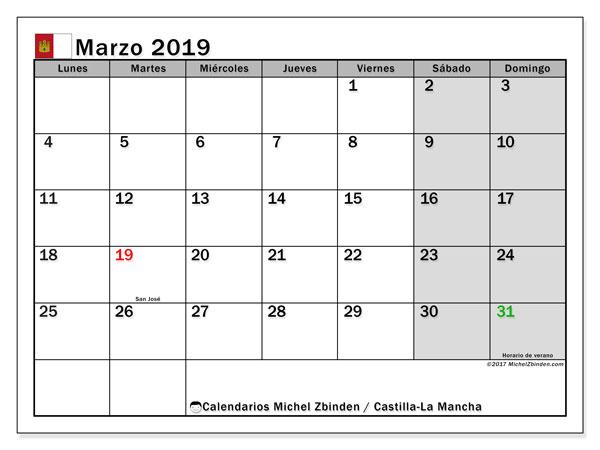 Calendario marzo 2019, con días feriados en Castilla-La Mancha. Calendario vacaciones y festivos para imprimir gratis.