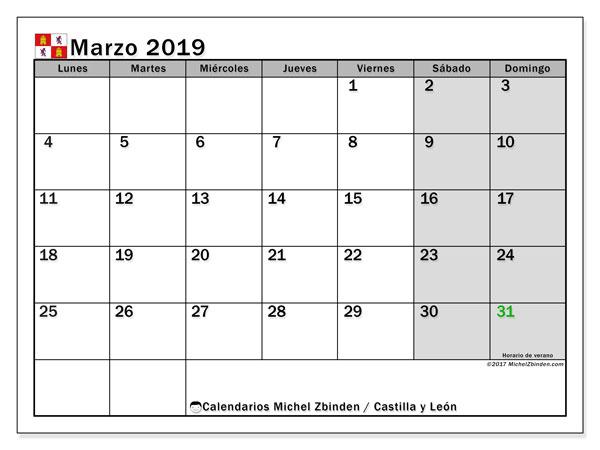 Calendario marzo 2019, con los días festivos de Castilla y León. Calendario para el mes para imprimir gratis.