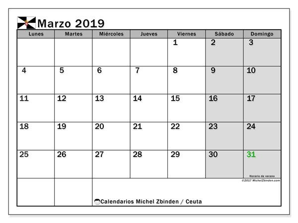 Calendario marzo de 2019 - Ceuta. Calendario para imprimir: fiestas oficiales.