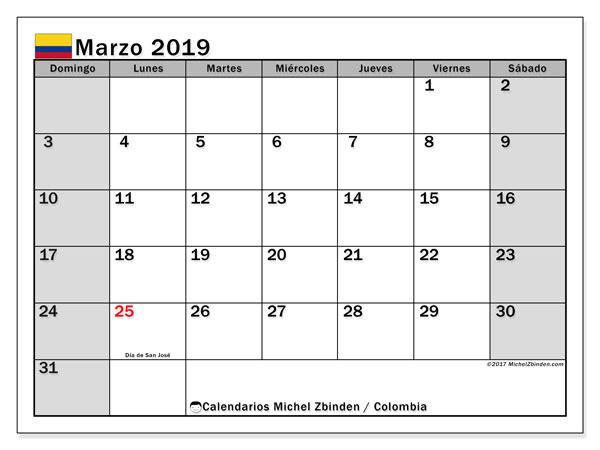 Calendario marzo 2019, con los días festivos en Colombia. Calendario para imprimir gratis.