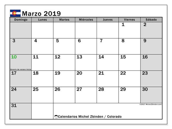Calendario marzo de 2019 - Colorado. Calendario para imprimir: fiestas oficiales.