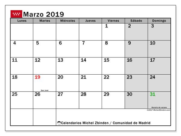 Calendario marzo 2019, con los días festivos de la Comunidad de Madrid. Planificación para imprimir gratis.