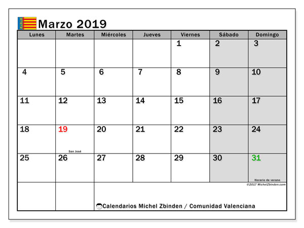 Calendario marzo 2019, con días feriados de la Comunidad Valenciana. Calendario para imprimir gratis con días festivos.