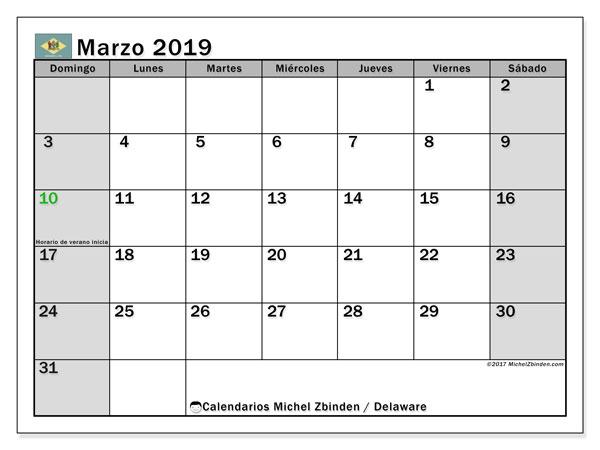 Calendario marzo 2019, con los días feriados de Delaware. Calendario para imprimir gratis.