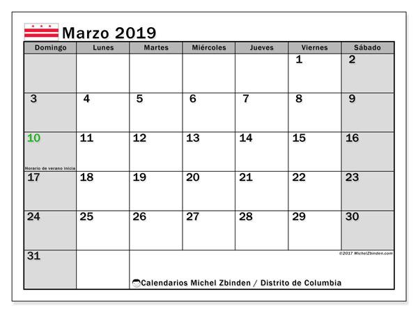 Calendario marzo 2019, con los días feriados del Distrito de Columbia. Almanaque para imprimir gratis.