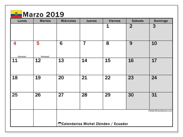 Calendario marzo 2019, con los días feriados para Ecuador. Calendario gratuito para imprimir.