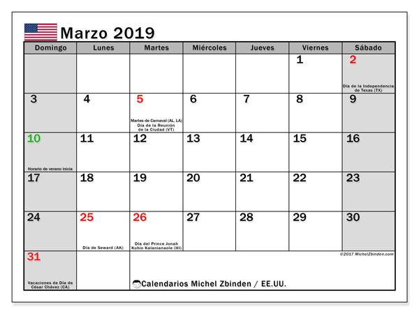 Calendario marzo 2019, con los días feriados en EE.UU.. Calendario imprimible gratis.