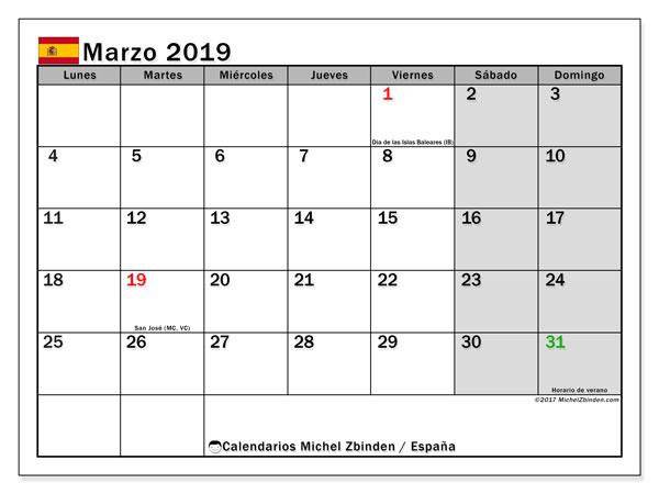 Calendario marzo 2019, con los días festivos de España. Almanaque para imprimir gratis.