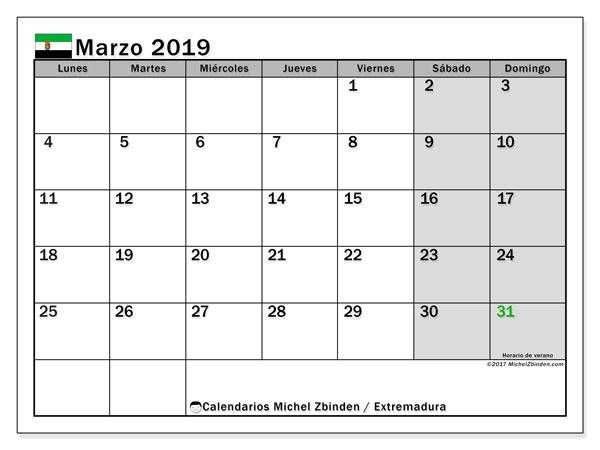 Calendario marzo 2019, con los días festivos de Extremadura. Calendario para el mes para imprimir gratis.