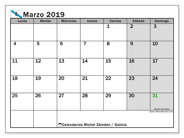 Calendario marzo 2019, con los días festivos en Galicia. Planificación para imprimir gratis.