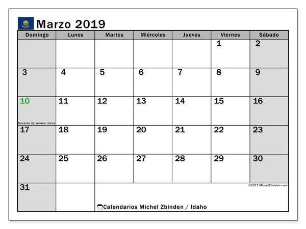 Calendario marzo 2019, con los días feriados de Idaho. Calendario imprimible gratis.