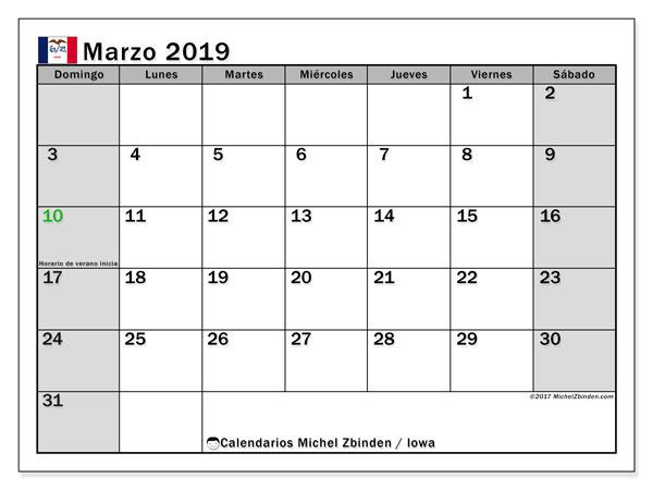 Calendario marzo de 2019 - Iowa. Calendario para imprimir: fiestas oficiales y días feriados.