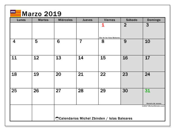 Calendario marzo 2019, con los días festivos de las Islas Baleares. Calendario para imprimir gratis.