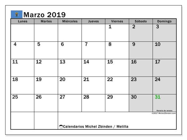 Calendario marzo de 2019 - Melilla. Calendario para imprimir: fiestas oficiales y días feriados.