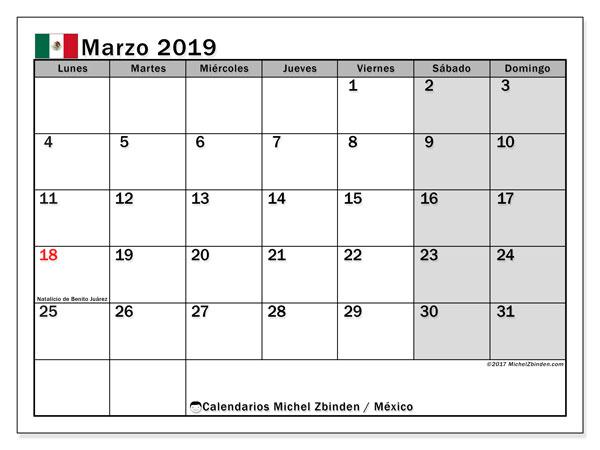 Calendario marzo 2019, con los días feriados en México. Calendario para el mes para imprimir gratis.