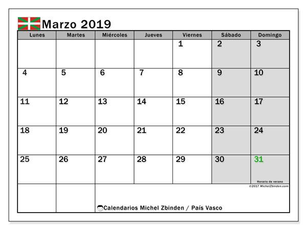 Calendario marzo 2019, con días feriados en el País Vasco. Calendario vacaciones y festivos para imprimir gratis.