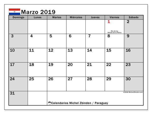 Calendario marzo 2019, con los días feriados en Paraguay. Calendario mensual para imprimir gratis.
