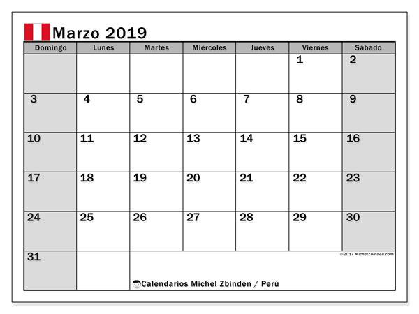 Calendario marzo 2019, con los días feriados para Perú. Calendario imprimible gratis.
