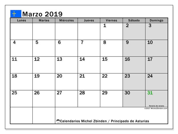 Calendario marzo 2019, con los días festivos del Principado de Asturias. Calendario mensual para imprimir gratis.