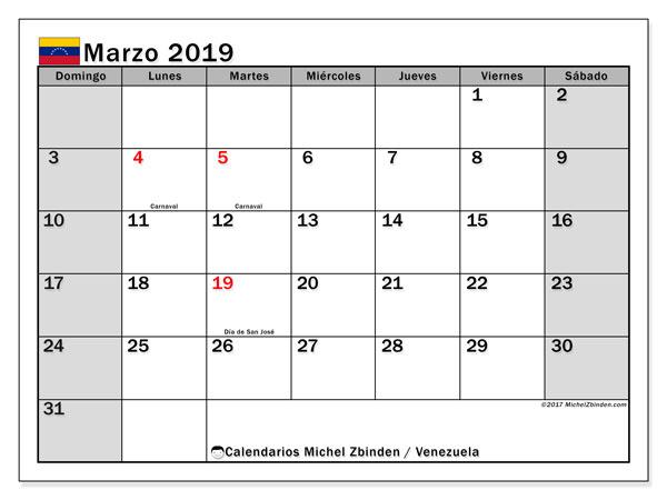 Calendario marzo 2019, con los días feriados para Venezuela. Planificación para imprimir gratis.