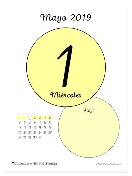 Calendario mayo 2019, 45-1LD. Calendario para el día para imprimir gratis.